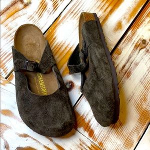 Birkenstock Mary Jane Brown Suede Leather Clog